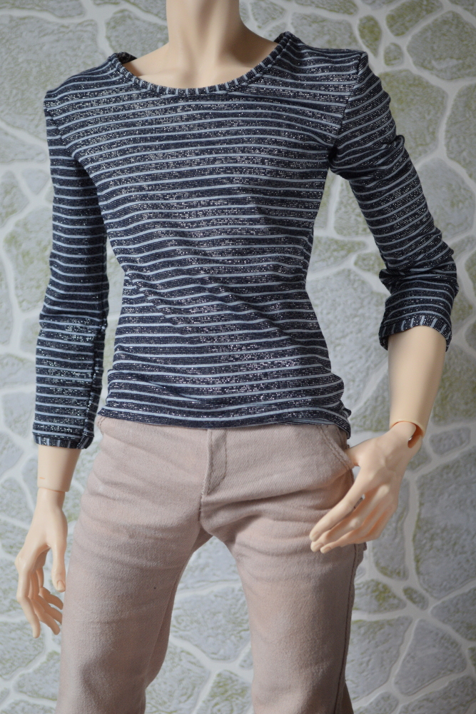 STRIPED SWEATSHIRT WITH CROPPED SLEEVES FOR  5TH MOTIF