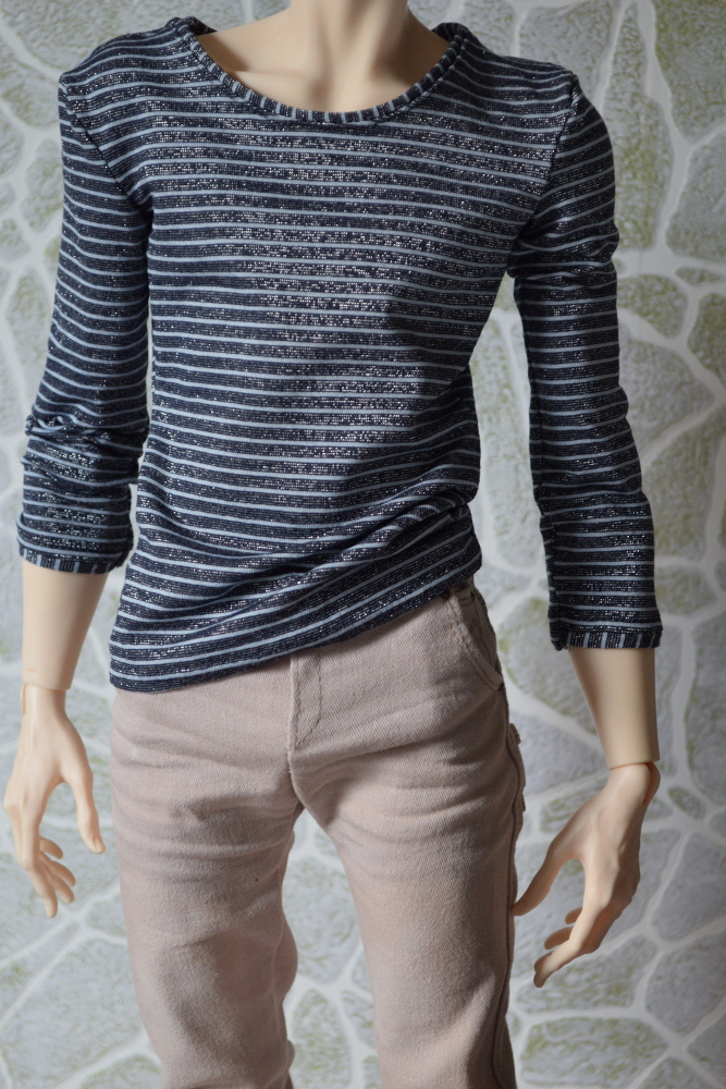STRIPED SWEATSHIRT WITH CROPPED SLEEVES FOR 70CM BJD MEN (FIT 5TH MOTIF)