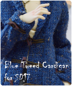 Tweed blue cardigan for SD17 BJD (fits feeple 65 male body)