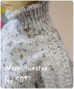 Warm tweed sweater for SD17 BJD fits 65cm dolls like feeple 65 male, Granado Lads etc