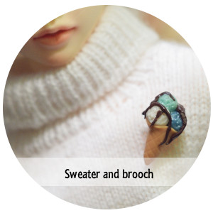 Handknitted sweater with polimerclay brooch for minifee or SD bjd