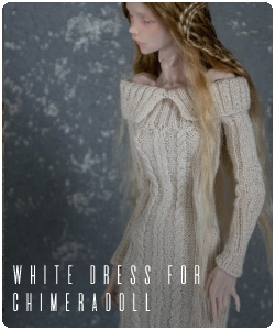 white knitted dress for chimeradoll